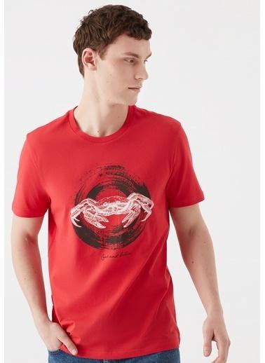 Mavi Yengeç Baskılı Kırmızı Tişört Kırmızı